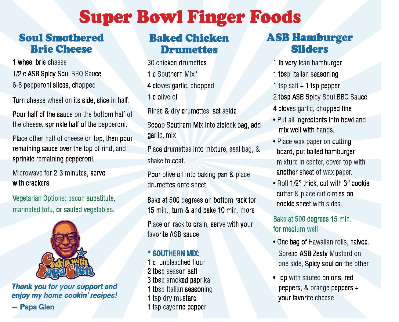 Super Bowl Finger foods